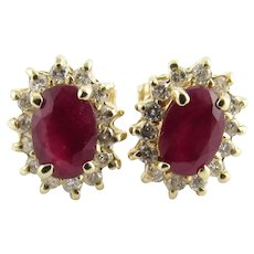 Vintage 14 Karat Yellow Gold Ruby and Diamond Earrings