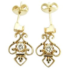 Vintage 14 Karat Yellow Gold and Diamond Earrings