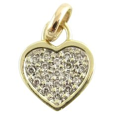 Vintage 10 Karat Yellow Gold and Diamond Heart Pendant