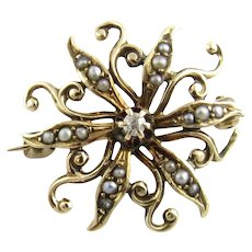 Vintage 14 Karat Yellow Gold Seed Pearl and Diamond Pin/Brooch