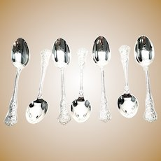 Set of 7 Vintage Tiffany & Co 1878 Olympian Sterling Silver Teaspoons, No Monogram