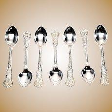 Set of 7 Vintage Tiffany & Co 1878 Olympian Sterling Silver Demitasse Spoons, No Monogram