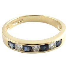 Vintage 14 Karat Yellow Gold Sapphire and Diamond Wedding Band Size 8.25
