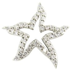 Vintage 14 Karat White Gold and Diamond Starfish Pendant