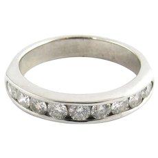 Vintage 14 Karat White Gold and Diamond Wedding Band Size 4.25