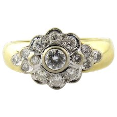 Vintage 18K Yellow and White Gold Floral Diamond Ring Size 7