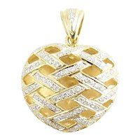 Vintage 18 Karat Yellow Gold and Diamond Heart Pendant