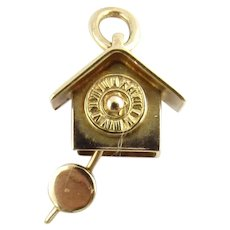 Vintage 14 Karat Yellow Gold Mechanical Clock Charm