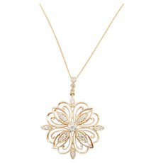 Vintage 14 Karat Rose Gold and Diamond Pendant Necklace