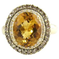 LeVian 14 Karat Yellow Gold Citrine and Diamond Ring Size 7