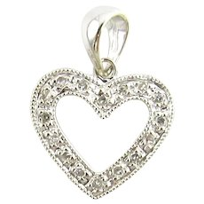 Vintage 14 Karat White Gold and Diamond Heart Pendant Necklace