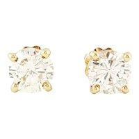 Vintage 14 Karat Yellow Gold Diamond Stud Earrings .83 ct. twt.