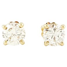 Vintage 14 Karat Yellow Gold Diamond Stud Earrings .83 ct. twt.