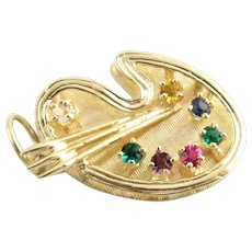 Vintage 14 Karat Yellow Gold Artist's Palette Charm