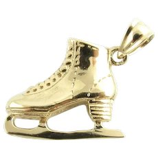 Vintage 14 Karat Yellow Gold Ice Skate Charm