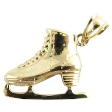 Vintage 14 Karat Yellow Gold Ice Skate Charm