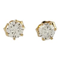 Vintage 14 Karat Yellow Gold Diamond Stud Earrings .53 ct. twt.