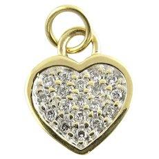 Vintage 14 Karat Yellow Gold and Diamond Heart Pendant