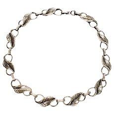 Vintage Danecraft Sterling Silver Leaf Necklace
