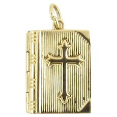 Vintage 14 Karat Yellow Gold Bible Locket Charm