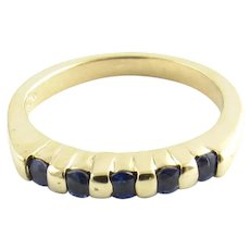 Vintage 14 Karat Yellow Gold and Sapphire Ring Size 5.75