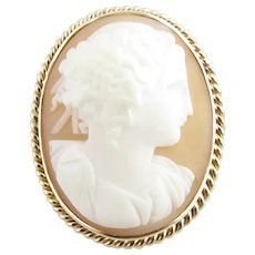 Vintage 10 Karat Yellow Gold Cameo Brooch