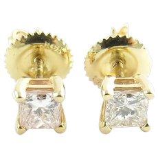 Vintage 14 Karat Yellow Gold Princess Cut Diamond Stud Earrings (.58 ct. twt.)