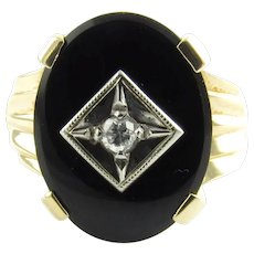 Vintage 14 Karat Yellow Gold Onyx and Diamond Ring Size 5.5