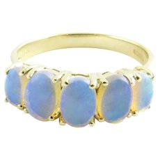 Vintage 9 Karat Yellow Gold and Opal Ring SIze 6.75