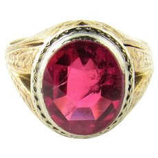 Vintage Men's 14K Yellow Gold and Synthetic Ruby Ring Size 10.5