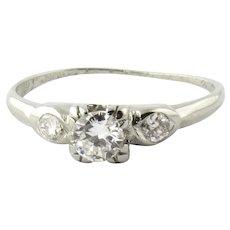 Vintage 18K White Gold Diamond Engagement Ring Size 4.75