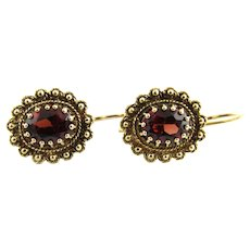 Vintage 14 Karat Yellow Gold and Garnet Earrings