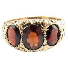 Vintage 14 Karat Yellow Gold and Garnet Ring Size 9.5