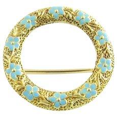 Vintage 14 Karat Yellow Gold and Enamel Floral Circle Pin/Brooch