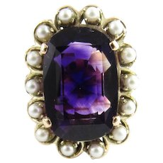 Vintage 9 Karat Yellow Gold Amethyst and Pearl Ring Size 5.75