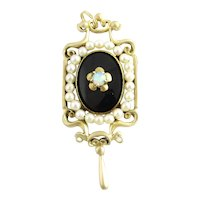 Vintage 14 Karat Yellow Gold Onyx, Opal and Pearl Brooch/Pendant