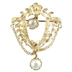 Vintage 14 Karat Yellow Gold and Pearl Floral Pendant/Brooch