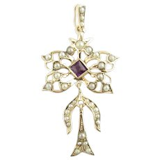 Antique 10 Karat Yellow Gold, Seed Pearl and Amethyst Pendant