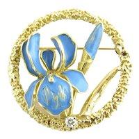 Vintage 18 Karat Yellow Gold and Blue Enamel Floral Brooch/Pin