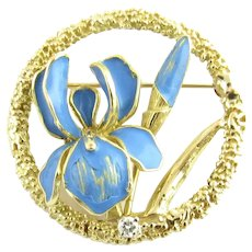 Vintage 18 Karat Yellow Gold and Blue Enamel Floral Brooch/Pin