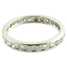 Vintage 14 Karat White Gold Diamond Eternity Band Size 6.25