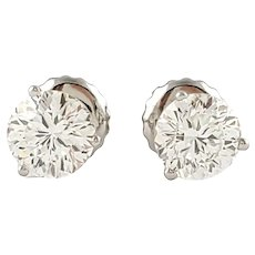 Vintage 18 Karat White Gold Diamond Stud Earrings .90 ct. twt.