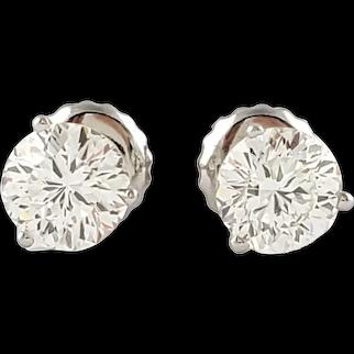 Vintage 18 Karat White Gold Diamond Stud Earrings .90 ct. twt.