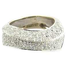 Vintage 18 Karat White Gold Pave Diamond Ring Size 7.75