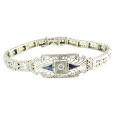 Vintage Platinum and 14 Karat White Gold Filigree Diamond and Sapphire Bracelet