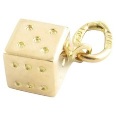 Vintage 18 Karat Yellow Gold Dice Charm