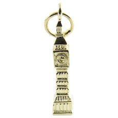 Vintage 14 Karat Yellow Gold Big Ben Clock and Tower Charm
