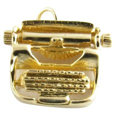 Vintage 14 Karat Yellow Gold Mechanical Typewriter Charm