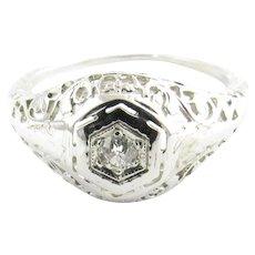 Vintage 10 Karat White Gold Filigree and Diamond Ring Size 6