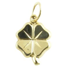 Vintage 14 Karat Yellow Gold Four Leaf Clover Charm